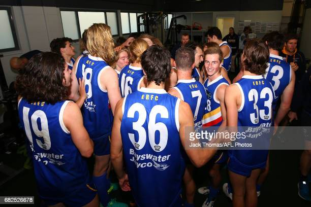 The Eastern Ranges sing the club song after winning the round seven TAC Cup match against the Bendigo Pioneers at Box Hill City Oval on May 13 2017...