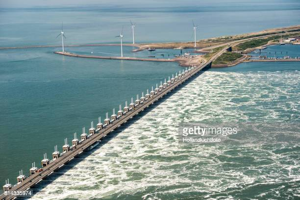 The Eastern Scheldt storm surge barrier designed to protect the Netherlands from flooding