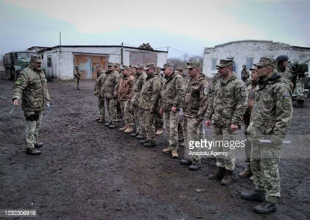 """The """"Eastern"""" tactical and operation group of the Ukrainian army conduct a drill while military activity continues in the Donbas region, Ukraine on..."""