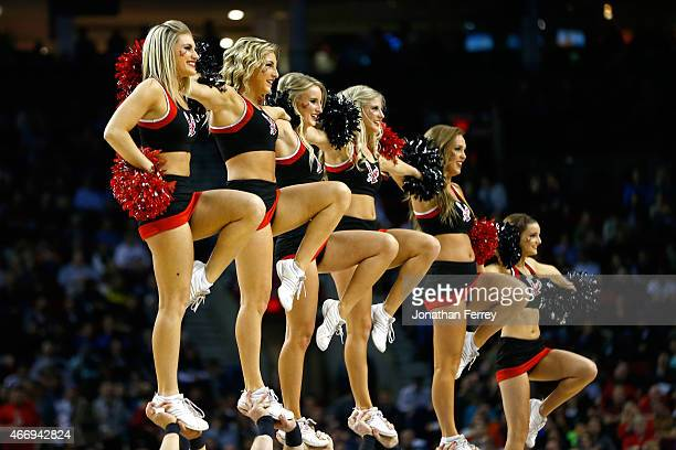 The Eastern Washington Eagles cheerleaders perform during a timeout in the first half against the Georgetown Hoyas during the second round of the...