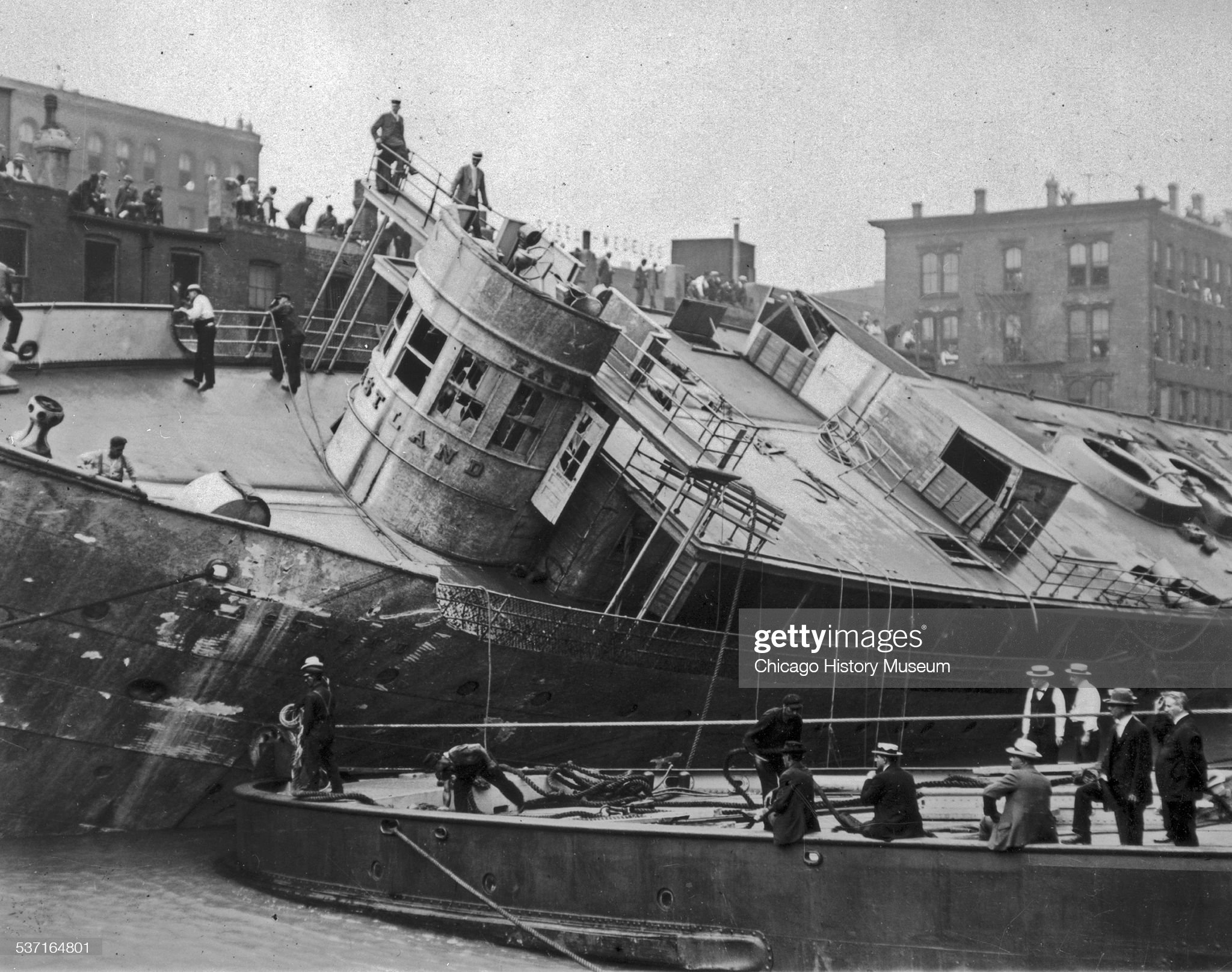The Eastland Ship Being Righted After Disaster : News Photo