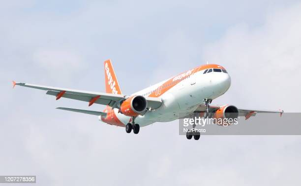 The EasyJet plane is landing at Paphos Airport Paphos Cyprus Sunday March 15 2020 Following a meeting of the Council of Ministers of the Republic of...