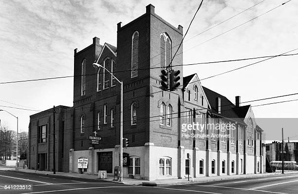 The Ebenezer Baptist Church stands on an intersection of Auburn Avenue the center of Atlanta's African American community Martin Luther King Sr and...