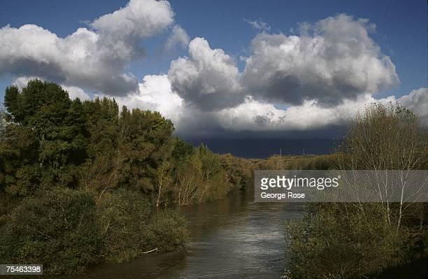 The Ebro River flows through heart of the Rioja wine region in this 2003 Rioja Spain photo