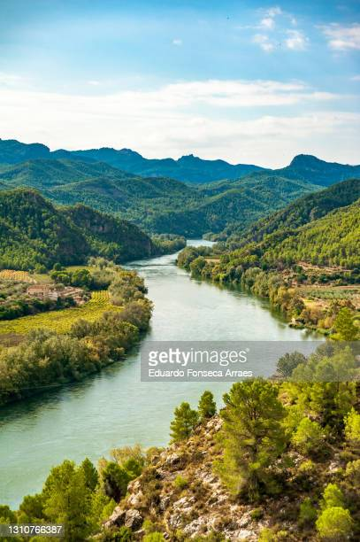 the ebro river, valley, mountains and forests, against a sunny blue sky with clouds - spain stock pictures, royalty-free photos & images