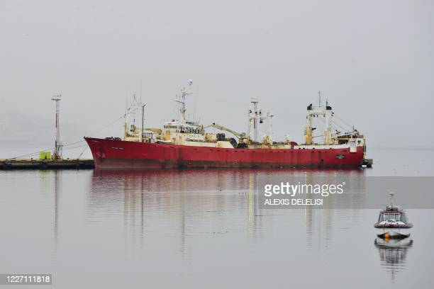 The Echizen Maru fishing trawler is seen docked at Ushuaia's harbour in Tierra del Fuego Province Argentina on July 14 2020 after 57 sailors were...