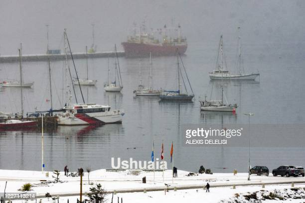 The Echizen Maru fishing trawler remains docked at Ushuaia's harbour in Tierra del Fuego Province Argentina on July 14 2020 after 57 sailors were...