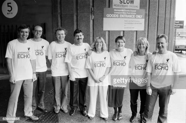 The Echo stair run team training for charity event 10th November 1989 L to R Ken Rogers Paul Byrne Chris Walker John Griffith Editor Ann Todd Pip...