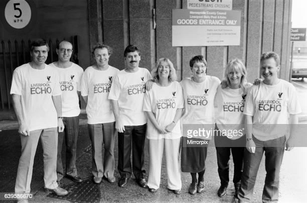 The Echo stair run team, training for charity event, 10th November 1989. L to R. Ken Rogers, Paul Byrne, Chris Walker, John Griffith Editor, Ann...