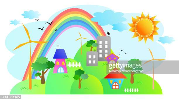 the eco village illustration with the wind turbines on the hill in the cartoon style. - animation stock pictures, royalty-free photos & images