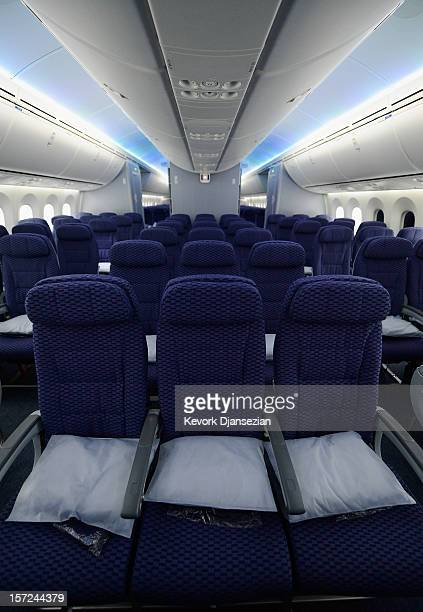 The Economy class with LED cabin lighting is seen on the United Airlines Boeing 787 Dreamliner at Los Angeles International Airport on November 30,...