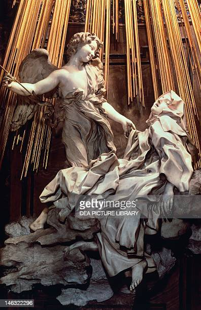 The Ecstasy of St Teresa of Avila by Gian Lorenzo Bernini a sculpture in marble and gilded bronze Cornaro Chapel of the Church of Santa Maria della...