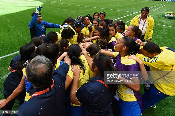 The Ecuador team bonds ahead of the FIFA Women's World Cup 2015 Group C match between Switzerland and Ecuador at BC Place Stadium on June 12 2015 in...