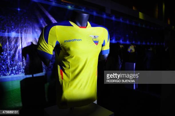 "The Ecuadorean national football team jersey for the upcoming World Cup Brazil 2014 is seen during a presentation ceremony at ""Casa de la Seleccion""..."
