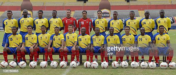 The Ecuadorean national football team that will participate in the Copa America in Venezuela starting on June 26th poses for the official picture at...