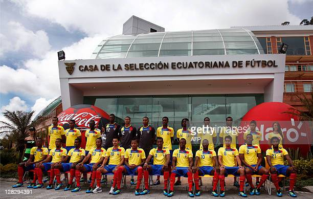 The Ecuadorean national team that will face Venezuela on October 7 2011 in a Brazil 2014 FIFA World Cup qualifier match poses for the squad's...