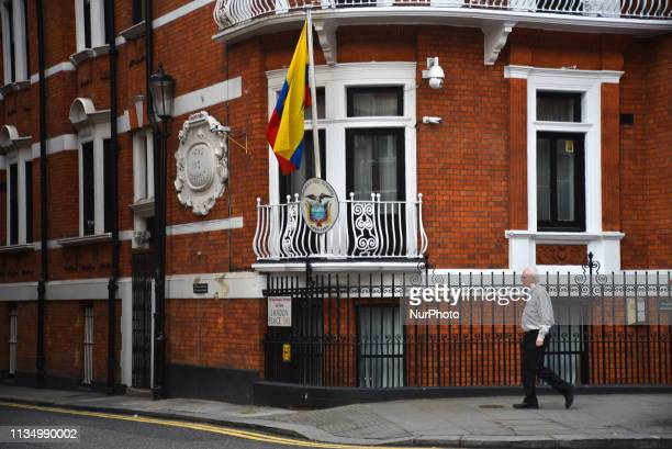 The Ecuadorian Embassy is pictured in Kensington London on April 5 2019 Wikileaks said via their Twitter account on Thursday that the organization's...