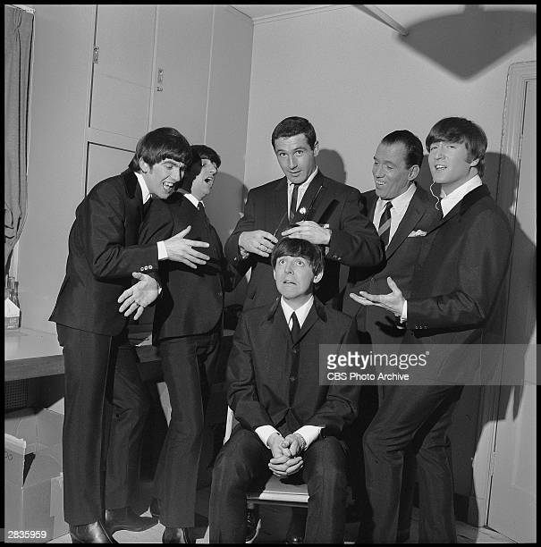 'The Ed Sullivan Show' featuring The Beatles, performed on Sunday, February 9 from CBS's Studio 50 in New York City. Band members , George Harrison,...