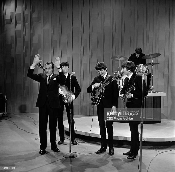 'The Ed Sullivan Show,' featuring The Beatles, performed on Sunday, February 9 from CBS's Studio 50 in New York City. Show host: Ed Sullivan at far...