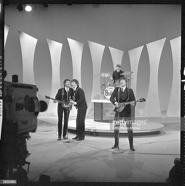 'The Ed Sullivan Show' featuring The Beatles, performing on Sunday, February 9 from CBS's Studio 50 in New York City. Band members : Paul McCartney,...