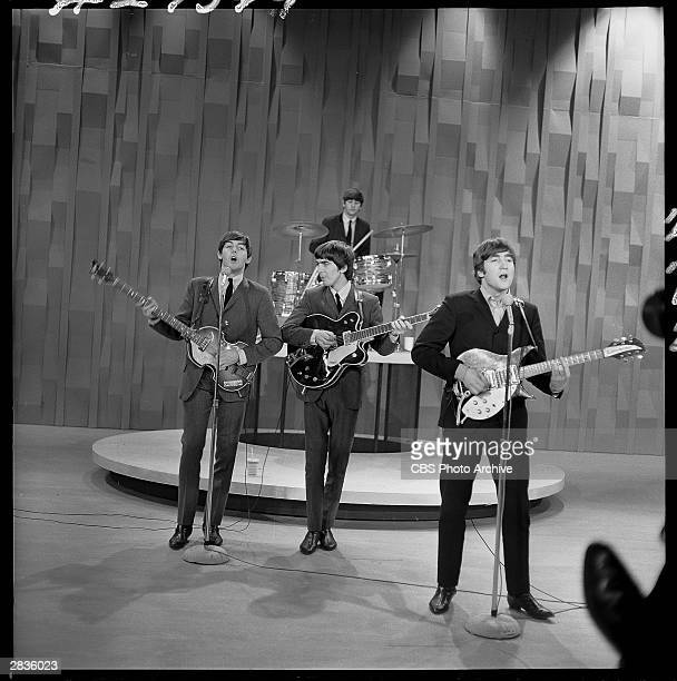 'The Ed Sullivan Show' featuring The Beatles performing on Sunday February 9 from CBS's Studio 50 in New York City Band members Paul McCartney Ringo...