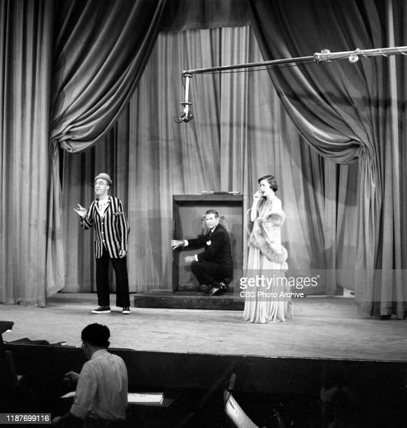 The Ed Wynn Show a CBS television sketch comedy and music program From left is Ed Wynn guest stars actor Richard Arlen actress Ella Raines March 31...