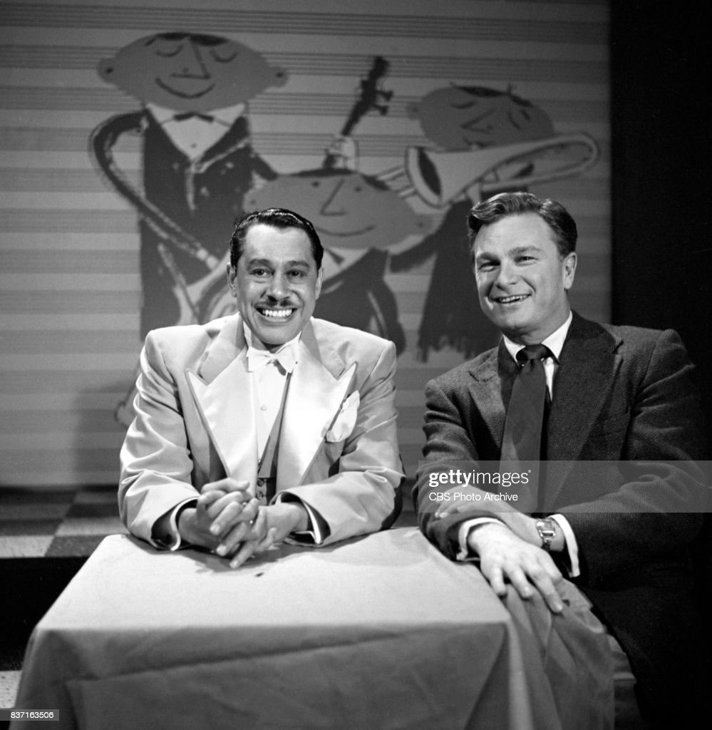The Eddie Albert Show CBS television daytime variety program. From left: guest singer / musician Cab Calloway and host Eddie Albert. New York, NY. Image dated April 20, 1953.