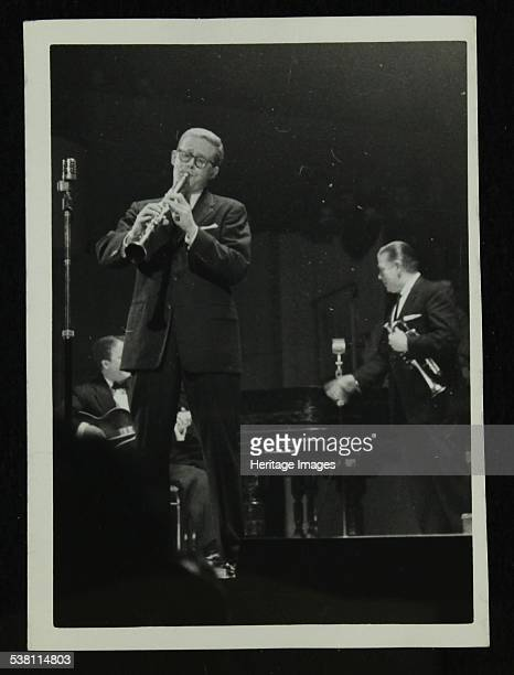 The Eddie Condon All Stars in concert Colston Hall Bristol 1957 Bob Wilber Eddie Condon and Wild Bill Davison on stage Artist Denis Williams