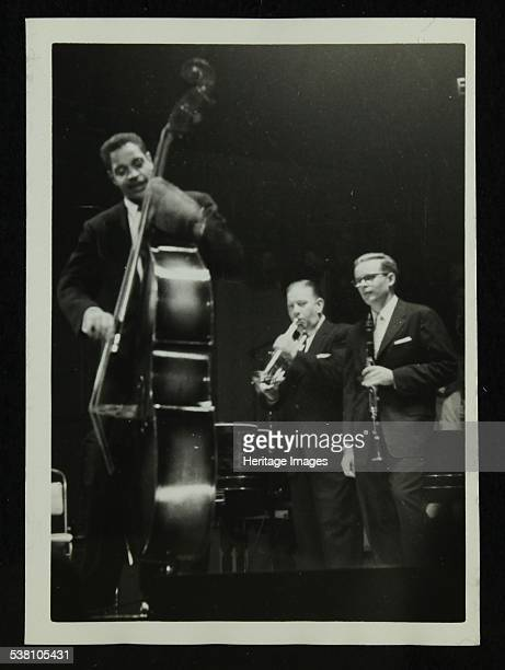 The Eddie Condon All Stars in concert Colston Hall Bristol 1957 Leonard Gaskin Wild Bill Davison and Bob Wilber Artist Denis Williams