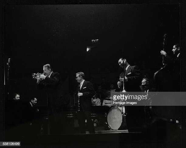 The Eddie Condon All Stars on stage at Colston Hall Bristol 1957 Left to right Eddie Condon Gene Schroeder Wild Bill Davison Bob Wilber Robert...