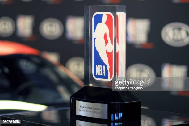 The Eddie Gottlieb Trophy for the Kia NBA Rookie of the Year seen at the 2018 NBA Draft on June 21 2018 at the Barclays Center in Brooklyn New York...