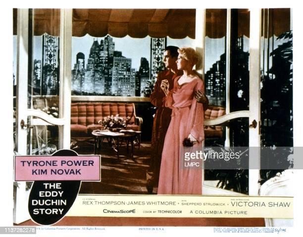 The Eddy Duchin Story lobbycard from left Tyrone Power Kim Novak 1956