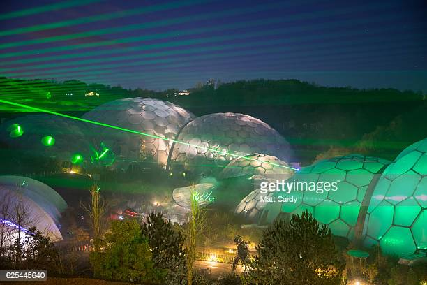 The Eden Festival of Light and Sound lasers illuminate the Biomes at The Eden Project on November 23 2016 in St Austell England A new laser light and...