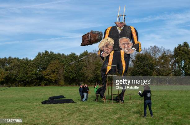 The Edenbridge Bonfire Society's 2019 'Celebrity Guy', Speaker of the House of Commons John Bercow, breaks off in the wind during the unveiling on...