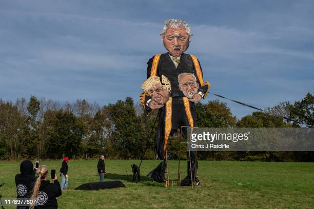 The Edenbridge Bonfire Society's 2019 'Celebrity Guy', Speaker of the House of Commons John Bercow, is erected after initially breaking during the...