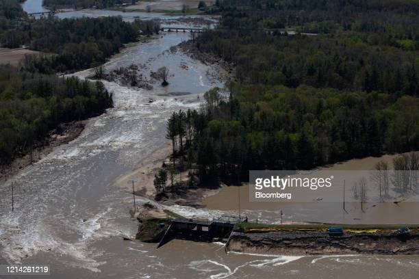 The Edenville dam is seen after breaking in this aerial photograph taken above Midland, Michigan, U.S., on Wednesday, May 20, 2020. President Donald...