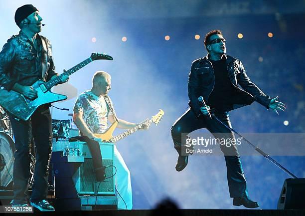 The Edge Adam Clayton and Bono of U2 perform on stage at ANZ Stadium on December 13 2010 in Sydney Australia