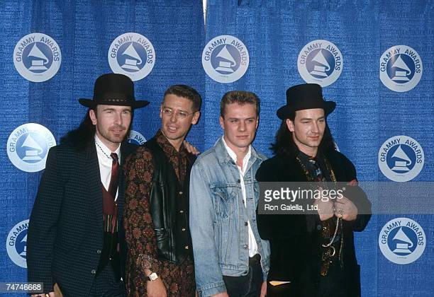 The Edge Adam Clayton Larry Mullen and Bono of U2 at the Radio City Music Hall in New York City New York
