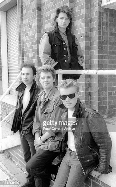 The Edge, Adam Clayton, Larry Mullen Jr and Bono from the band 'U2' during their 'Unforgettable Fire' world concert tour in September, 1984 in...