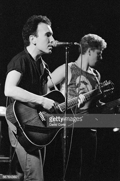 The Edge and Adam Clayton of U2 performing at Hammersmith Odeon London United Kingdom on 21 March 1983