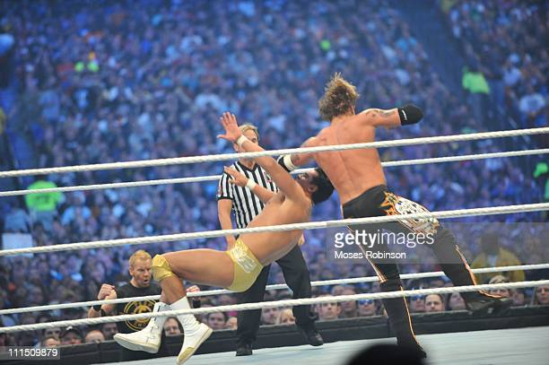 The Edge and Alberto Del Rio battle during their WWE match at 'WrestleMania 27' at the Georgia World Congress Center on April 3 2011 in Atlanta...