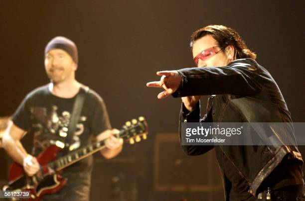 "The Edge and Bono and U2 perform in support of the bands ""How to Dismantle an Atomic Bomb"" release at the Oakland Arena on November 8, 2005 in..."
