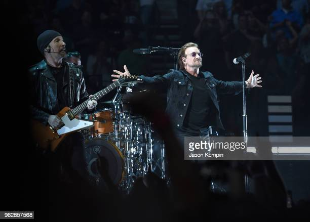 The Edge and Bono of the rock band U2 perform at Bridgestone Arena on May 26 2018 in Nashville Tennessee