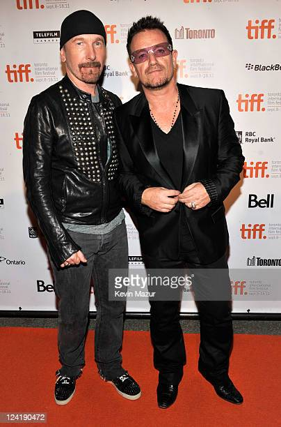 The Edge and Bono of U2 attend the 2011 Toronto International Film Festival opening night party at Liberty Grand on September 8 2011 in Toronto Canada