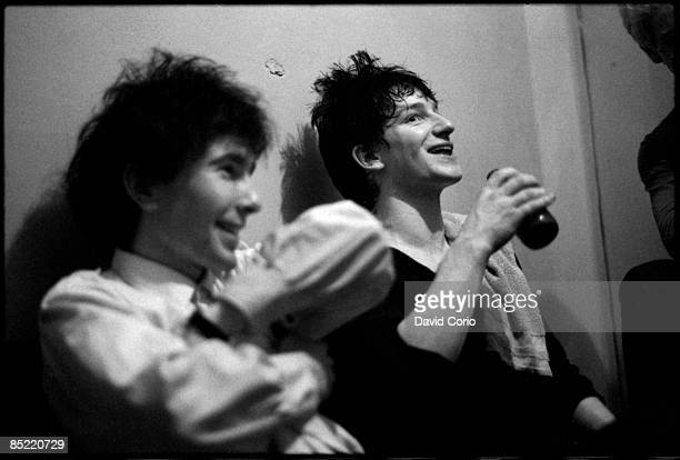 The Edge and Bono of U2 backstage at the Arcadia Ballroom Cork Ireland on March 1 1980