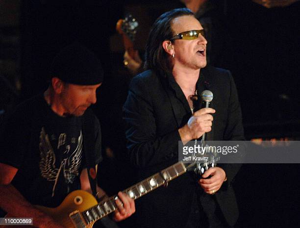 The Edge and Bono of U2, inductees during 20th Annual Rock and Roll Hall of Fame Induction Ceremony - Show at Waldorf Astoria Hotel in New York City,...