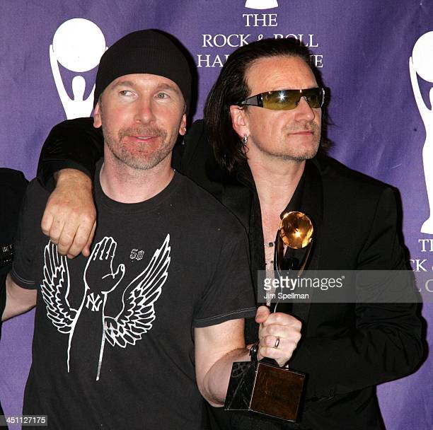 The Edge and Bono of U2 inductees during 20th Annual Rock and Roll Hall of Fame Induction Ceremony Press Room at Waldorf Astoria Hotel in New York...
