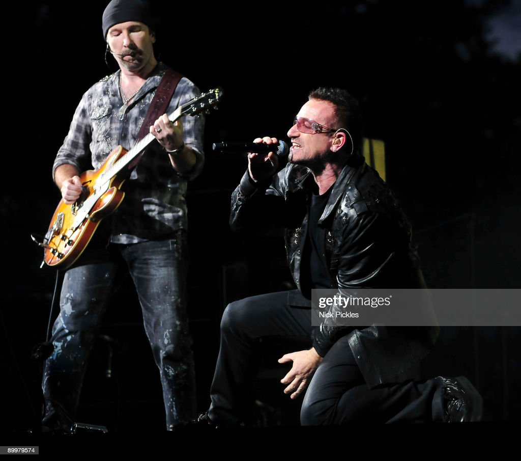 The Edge (L) and Bono of U2 perform at Don Valley Stadium on August 20, 2009 in Sheffield, England.