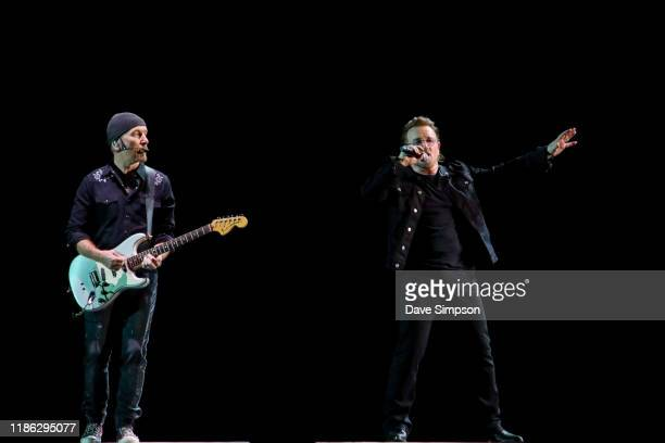 The Edge and Bono of U2 perform at Mt Smart Stadium on November 08 2019 in Auckland New Zealand