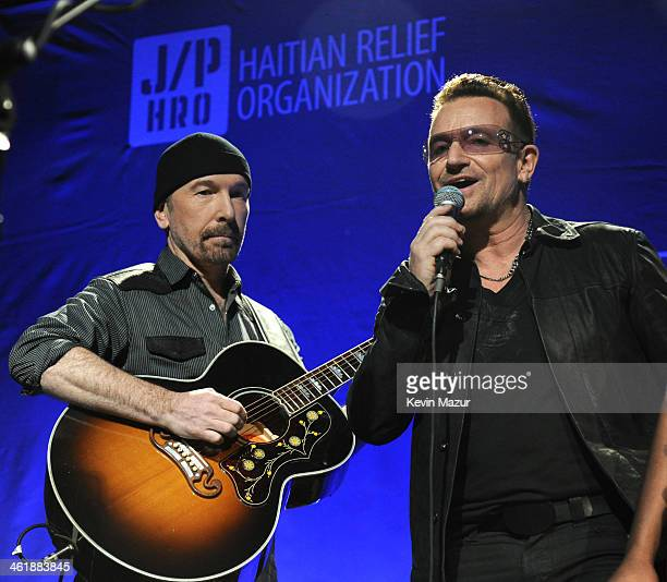 The Edge and Bono of U2 perform at the 3rd annual Sean Penn Friends HELP HAITI HOME Gala benefiting J/P HRO presented by Giorgio Armani at Montage...
